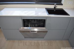 Bucatarie PicoMob MDF VOPSIT mat cu frezare maner mobila fara manere masina de spalat vase incorporabila blat quartz cuart