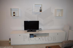 Mobilier living open space PicoMob PAL alb lucios FunderMax